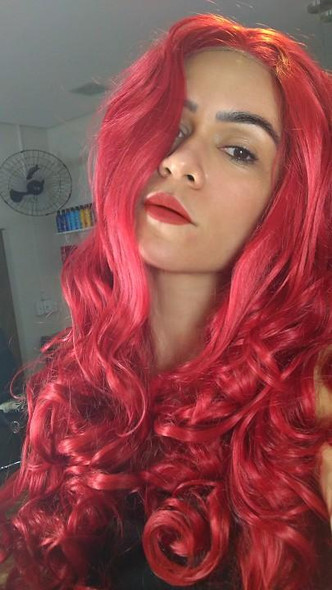 Apple (Red Long Body Wave Heat Safe Synthetic Lace Front Wig)