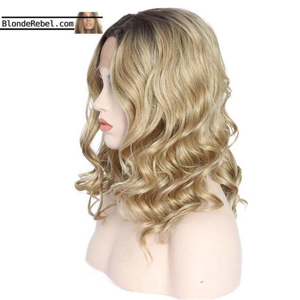 """Madge (14"""" Body Wave Ombre Rooted Neutral Blonde Synthetic Heat Safe Lace Front Wig)"""