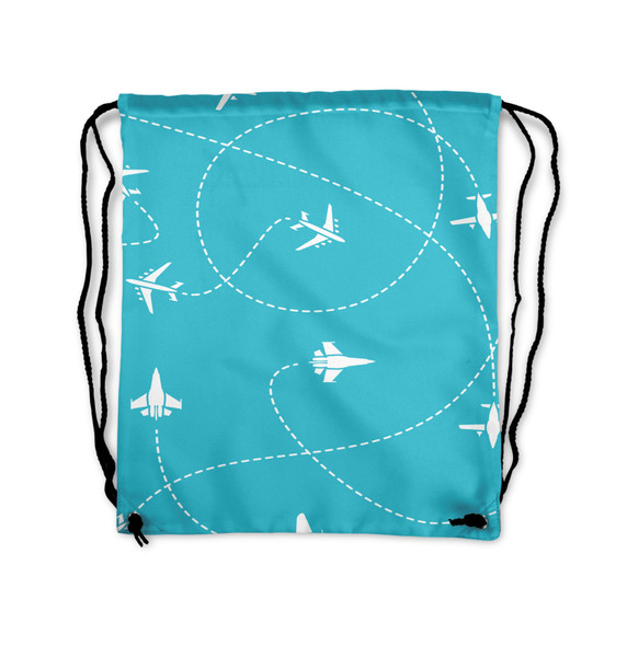 Travel The The World By Plane Printed Drawstring Bags