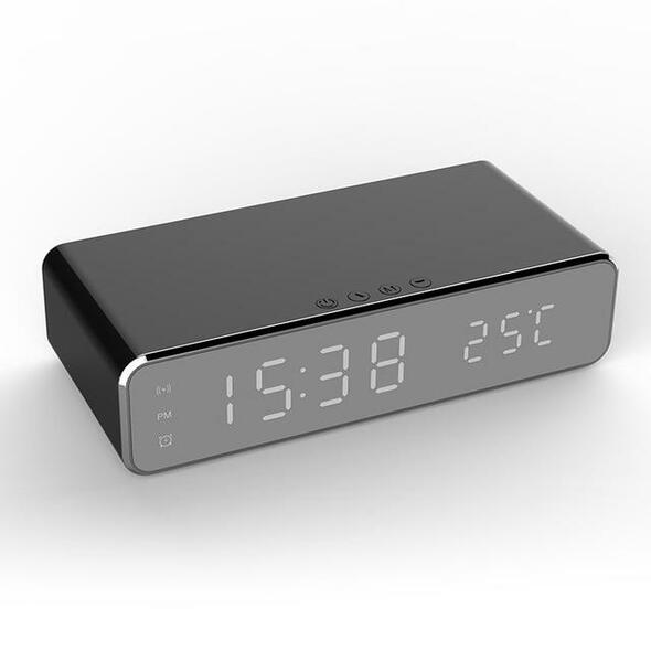 LED Electric Alarm Clock Digital Thermometer Clock HD Mirror Clock with Phone Wireless Charger and Date