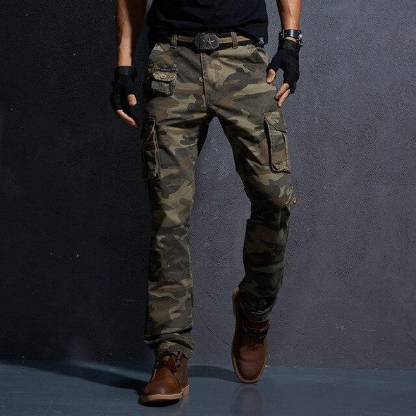 Men's Casual Pants Multi Pocket Military Tactical Camouflage Cargo Pants