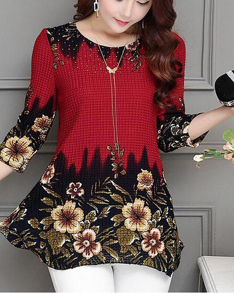 Women's Blouse Shirt Floral Color Block Solid Colored Long Sleeve Round Neck Tops Slim Basic Top Blue Red-0203823