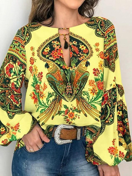 Women's Blouse Shirt Floral Flower Long Sleeve Lace up Print Round Neck Tops Basic Basic Top White Yellow Orange-0203813
