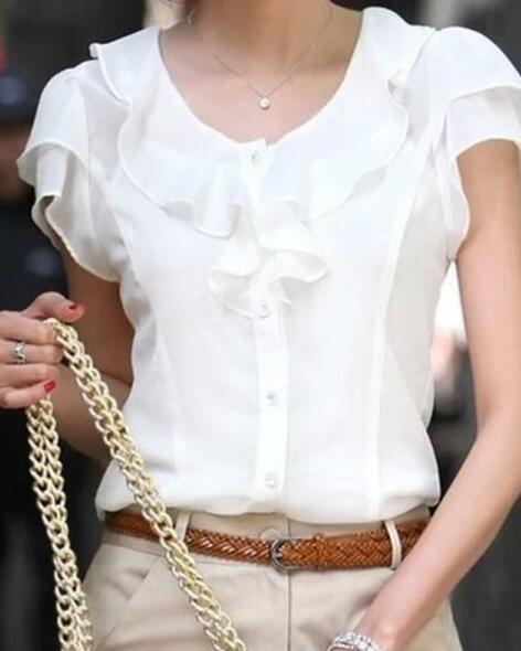 Women's Plus Size Blouse Shirt Solid Colored Round Neck Tops Chiffon Basic Top White-0203801