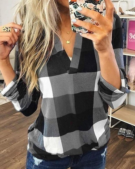 Women's Blouse Shirt Plaid Check Color Block Long Sleeve V Neck Tops Loose Basic Top Blue Purple Red-0202809