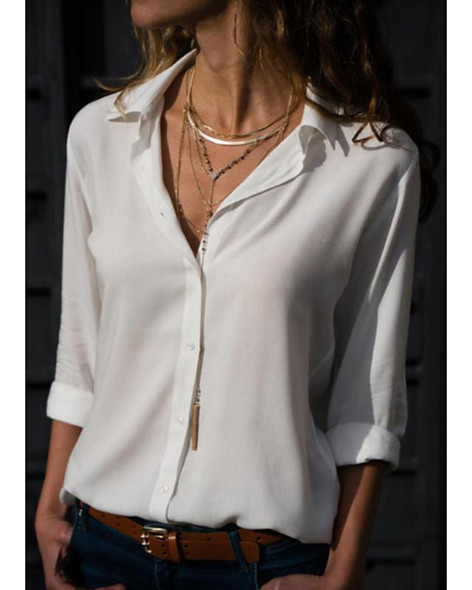 Women's Blouse Shirt Solid Colored Long Sleeve Shirt Collar Tops Basic Top White Black Blue-0202805