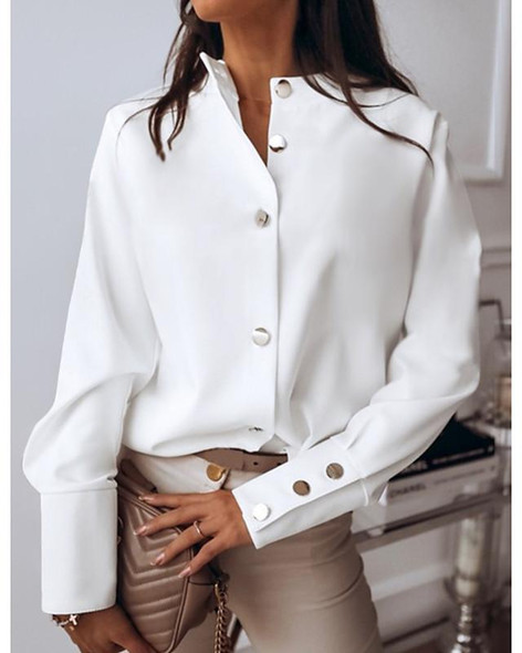 Women's Blouse Shirt Solid Colored Long Sleeve Round Neck Tops Basic Top White Black Blushing Pink-0202801