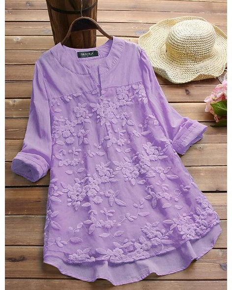 Women's Blouse Shirt Solid Colored Long Sleeve Lace Layered Button Round Neck V Neck Tops Loose Casual Basic Top White Purple Yellow-817