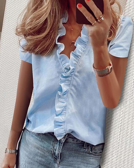 Women's Blouse Shirt Solid Colored Ruffle V Neck Tops Basic Top White Blue Green-0202810