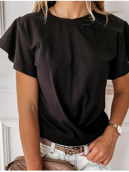Women's Blouse Shirt Solid Colored Ruffle Round Neck Tops Basic Top White Black