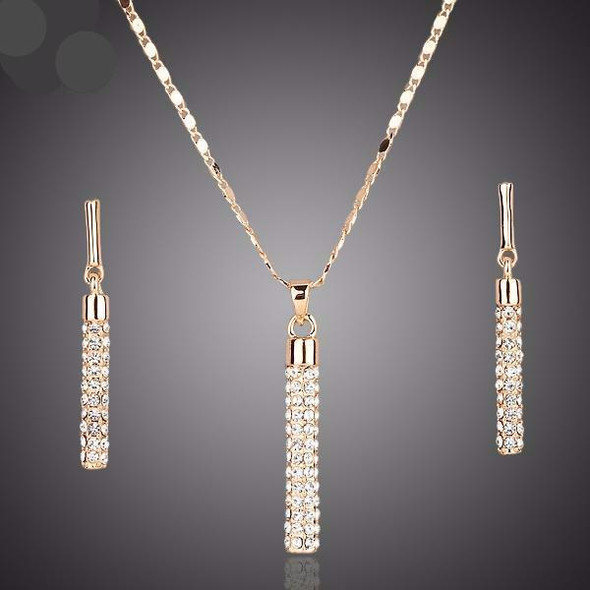Gold color clear Austria crystals drop earrings and pendant necklace jewelry set. TG0007