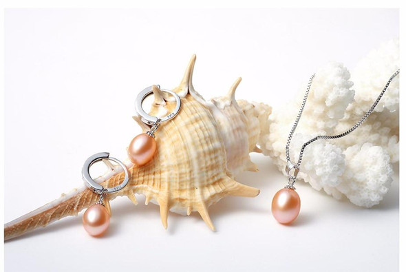 Freshwater pearl necklace jewelry set ! Classic 925 sterling silver jewelry set genuine/earrings for women.