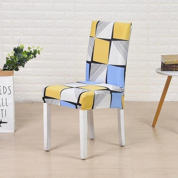 Square patterned stretch dining room chair covers