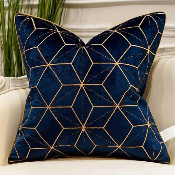 Navy Blue Luxury Gold Applique Cushion Covers