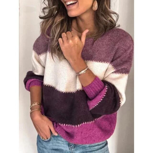 Loose Autumn Winter Striped Sweater Women Pullover Plus Size Womens Sweaters High Quality Oversized Color Block Sweater Jumper