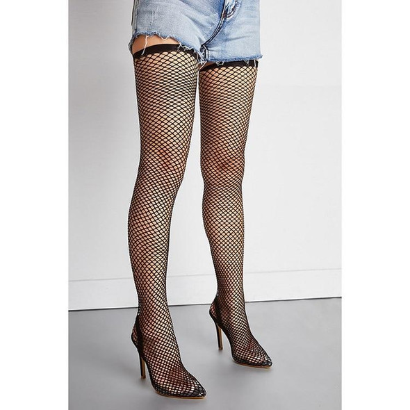 Mesh Over The Knee Boots Pointed High Heel Boots