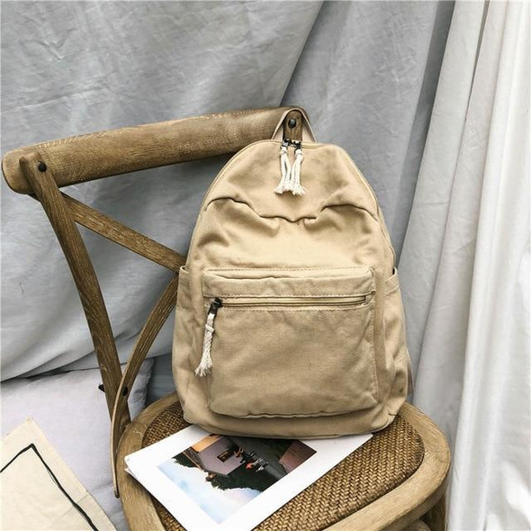 Fashion Preppy Style Simple Solid Color Women Canvas Backpacks 2019 New Zipper Female Students School Bags Shoulder Bags