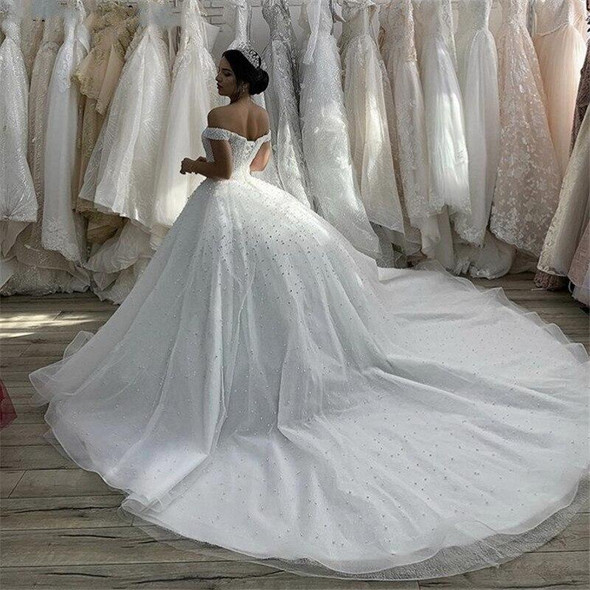 White Pearls Ball Gown Luxury Wedding Dresses Off the Shoulder