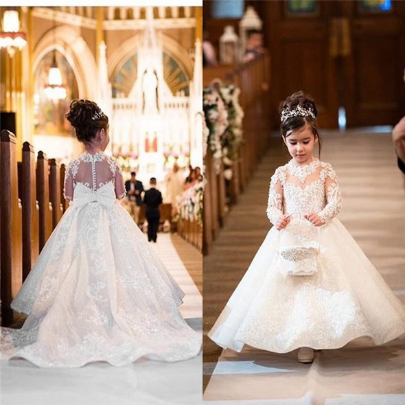 Flower Girls Dresses Long Sleeves Lace Appliques
