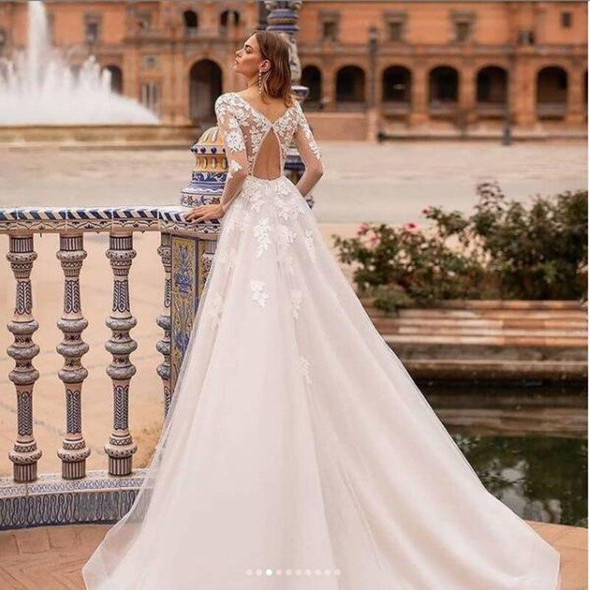 Wedding Dress Sexy Backless Long Sleeves