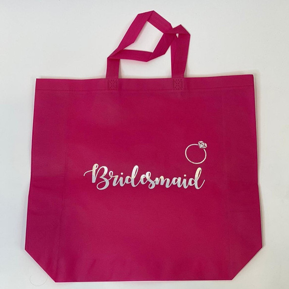 """Sample Sale - Hot Pink Tote Bags, """"Bridesmaid"""", in Silver Glitter Size: L"""