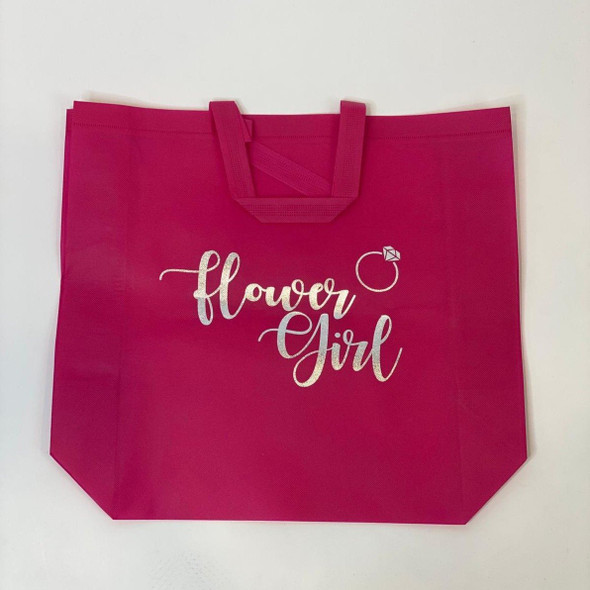 """Sample Sale - Hot Pink Tote Bags, """"Flower Girl"""", in Silver Glitter Size: L"""