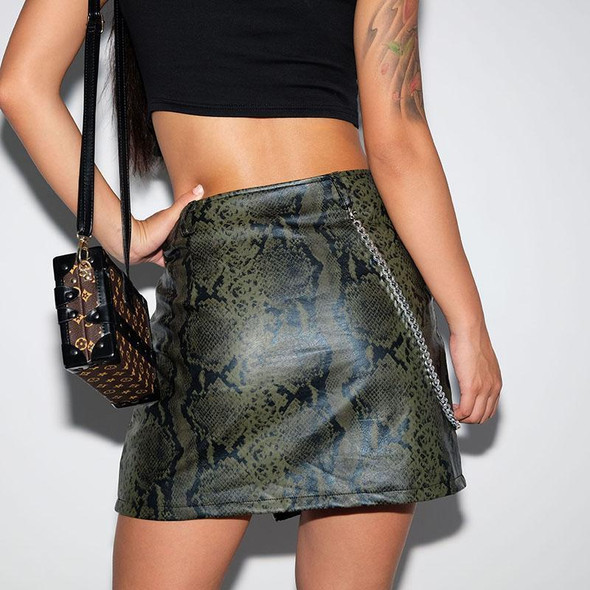 Green Snake Print Leather Chained Skirt