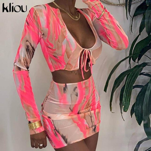 Mesh see though 2 piece outfit