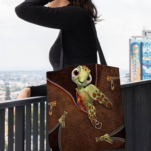 Dea Turtle 3D Printed Leather Fake Pattern Tote Bag