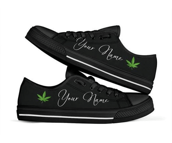 Weed Cannabis Personalized Your Name Black Low Top Shoes