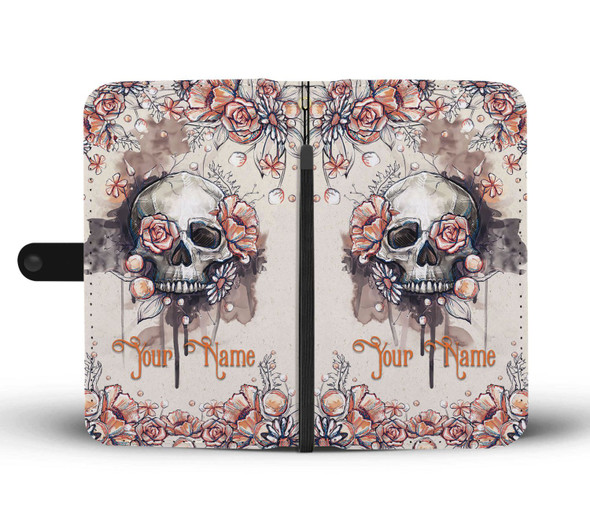 Personalized Customized Sugar Skull Floral Art Wallet Phone Case