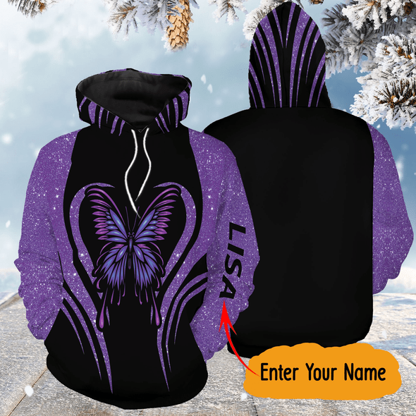 Violet Butterfly Personalized All Over Print Unisex Hoodie