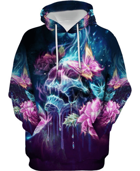 Sugar Skull Art With Colorful Butterfly Hoodie