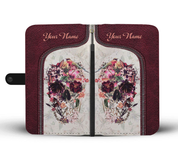 Personalized Customized Sugar Skull Art Floral Vintage Wallet Phone Case