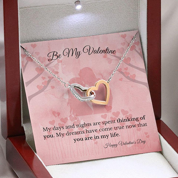 Be My Valentine Perfect Valentine Gift Couple Valentine Heart Necklace Card