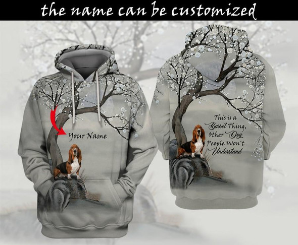 Personalized Customized Love Basset Hound Dog Winter 3D Printed Hoodie