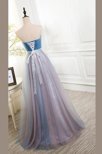 A Line Sweetheart Prom Dress,Floor Length Tulle Evening Dress With Beading OMP11
