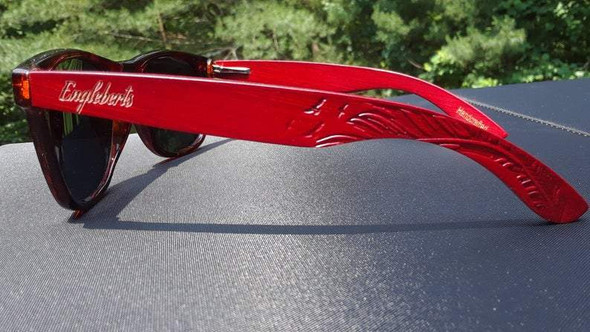 Rosewood Sunglasses, Polarized, Artisan Engraved, Handcrafted