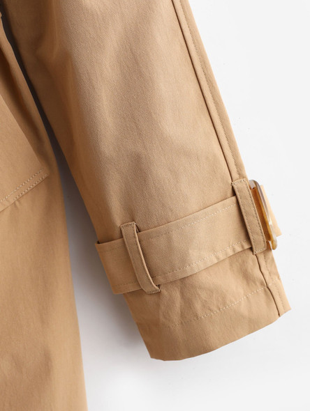 Turn Down Collar Pockets Belted Trench Coat