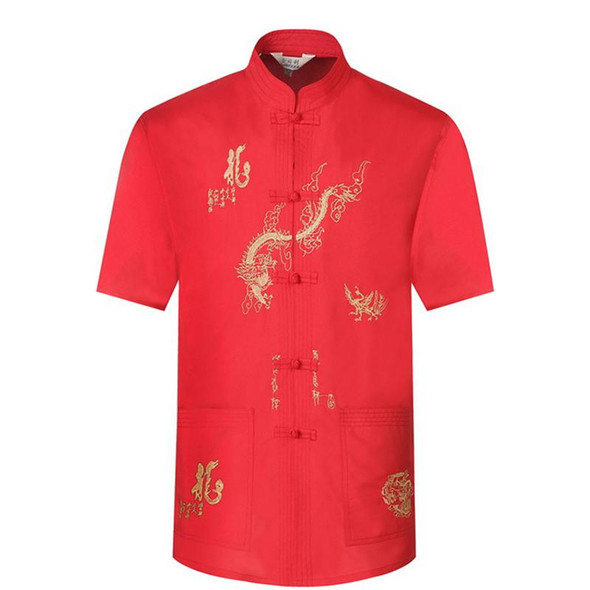 Tangsuit Embroidery Male Chinese Style Shirt Clothing Dragon Traditional Chinese Clothing Men Jacket Short Retro Party