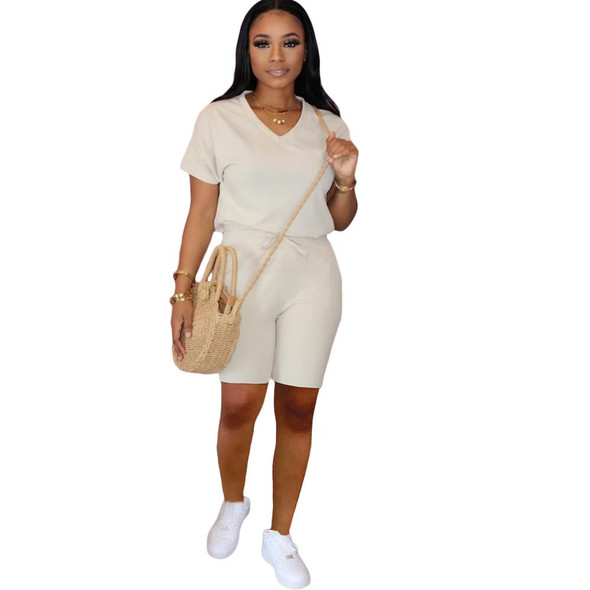 2020 Women Sets Summer Tracksuits Pockets T-Shirts+Shorts Suit Two Piece Set Club Party Sportswear Street 2 Pcs Outfits GL6065