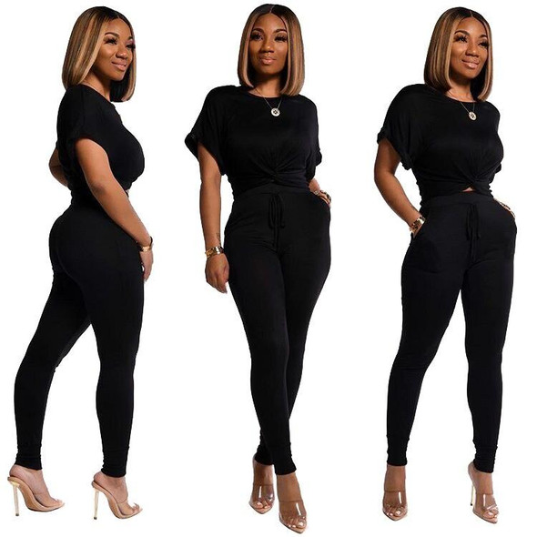 2020 Women Sets Summer Tracksuits Short Sleeve Cross Top+Pants Suit Two Piece Set Sportswear Night Club Party Outfits GL1003