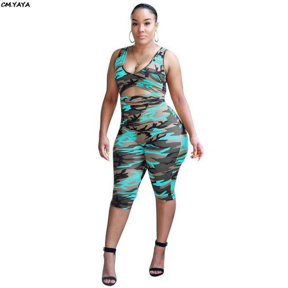 Women Camouflage Print Sleeveless Cutout Waist Skinny Military Calf Length Jumpsuit Beach Holiday Romper Playsuit 3 Color ALS075