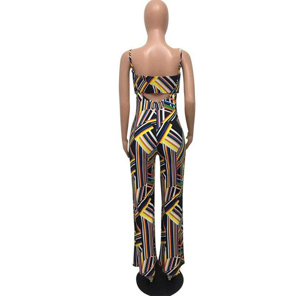 Striped Print Summer Tracksuit Strapless Rompers Fashion Sexy Women's Set Two Pieces Jumpsuit Suits Casual Nightclub D634