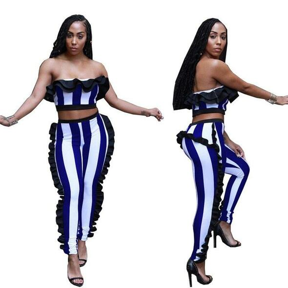 Sexy Two Piece Set Summer Tracksuit Women Set Striped Strapless Ruffle Crop Tops Pants Suits Party Women Two Piece Outfits