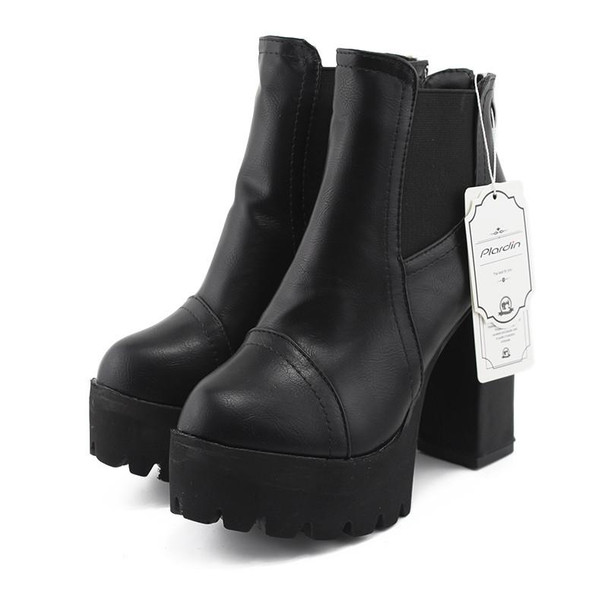 New Sexy Ultra High Heels Shoes Woman Martin Boots Female Round Toe Martin Boots 9cm Thick Heel Platform Women Shoes Ankle Boots