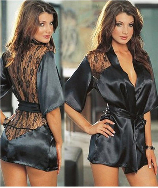 New Sexy Style Europe and America woman Nightdress Lace Lingerie set Satin Halter nightgown plus 5 Color and S M L XL XXL 2016