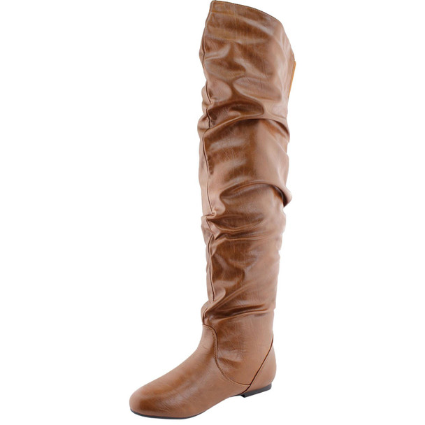 Vickie-Hi Slouchy Thigh High Faux Leather Flat Boots