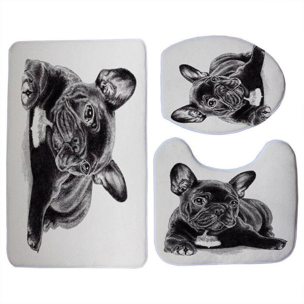 Let Sweet Lovable Cali Show Off Your Love For French Bulldogs With Our 3 Piece Bathroom Decor Set Including Toilet Seat Cover, Non-Slip Floor Mat, And Cozy Non Slip U-Shaped Toilet Floor Mat By Miracille