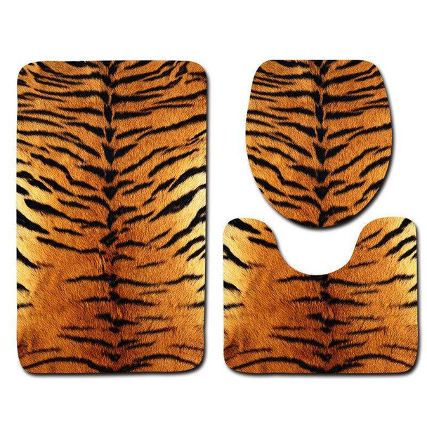 Luxurious 3Pcs/Set Leopard Or Tiger Pattern Bath Mat, Toilet Rug, And Matching Seat Cover Set For Bathroom Both Soft Absorbent Mats